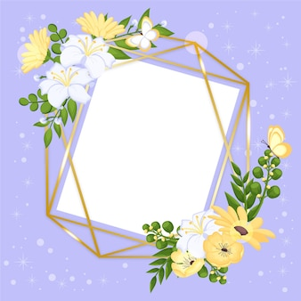 Drawn lovely spring floral frame