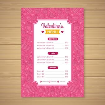 Нарисованный прекрасный шаблон меню ресторана на день святого валентина