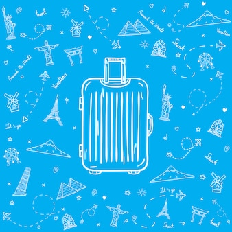 Drawn luggage with travel elements