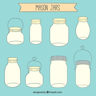 Drawn mason jars collection