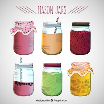 Drawn mason jars set