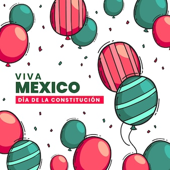 Drawn mexican constitution day balloons