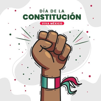 Drawn mexican constitution day hand