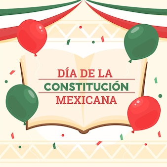 Drawn mexico constitution day illustration with book