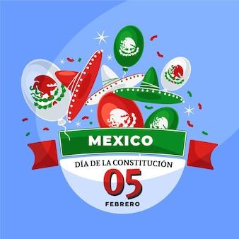 Нарисованный день конституции мексики с элементами
