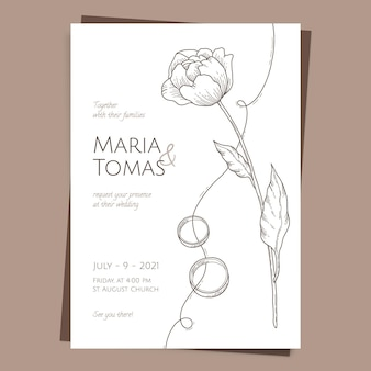 Drawn minimalist wedding invitation template