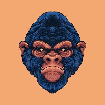 描かれた猿の頭のイラスト