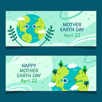 Drawn mother earth day banner