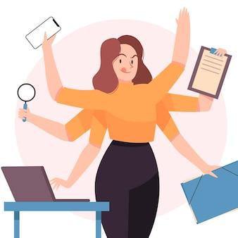 Disegnata multitasking donna d'affari illustrazione