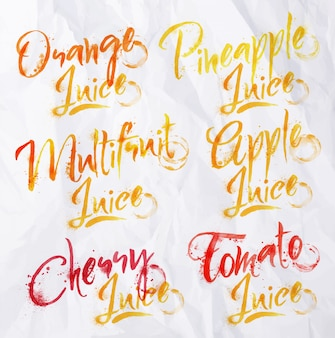 Drawn names of different kinds of juice, multifruit, tomato, orange, pineapple drops of juice