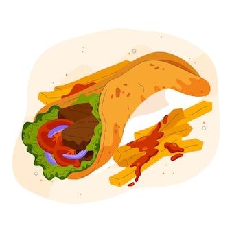 Drawn nutritious shawarma illustration