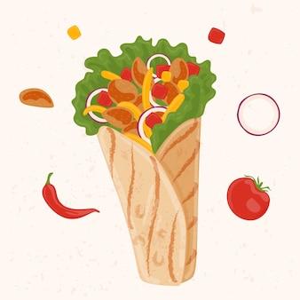 Нарисованная питательная иллюстрация шаурмы
