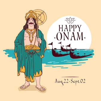 Drawn onam theme
