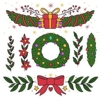 Pacchetto disegnato di elementi decorativi natalizi