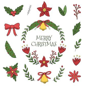 Нарисованный пакет рождественских цветов и венков