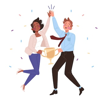Drawn people celebrating a goal achievement