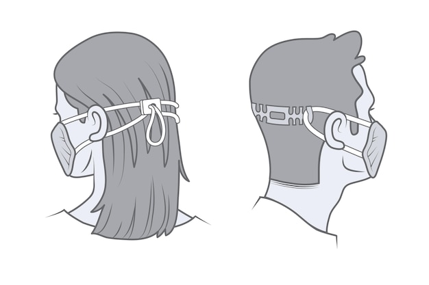 Drawn people wearing adjustable face masks