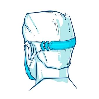 조정 가능한 안면 마스크 스트랩을 착용 한 그려진 사람