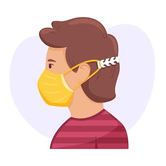 조정 가능한 의료 마스크 스트랩을 착용 한 그려진 사람