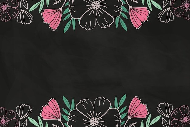 Drawn pink flowers on blackboard background