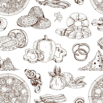 Drawn pizza ingredients pattern