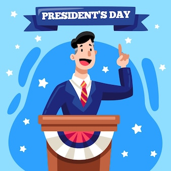 Illustrazione disegnata di giorno del presidente con l'uomo