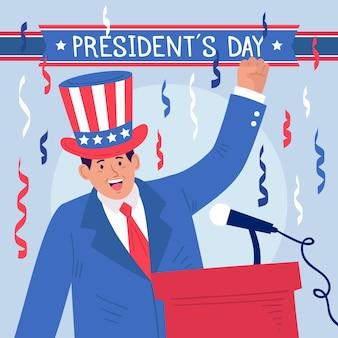 Promozione del giorno del presidente disegnato con illustrazione