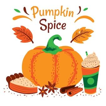 Drawn pumpkin spice illustration