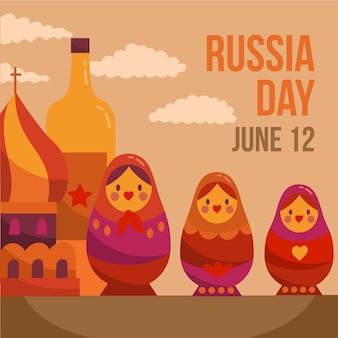 描かれたロシアの日デザイン