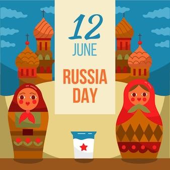 Evento di russia day disegnato