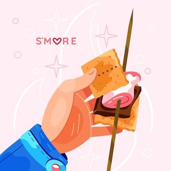 Disegnato s'mores dessert illustrato