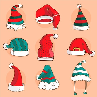 Drawn santa's hat collection