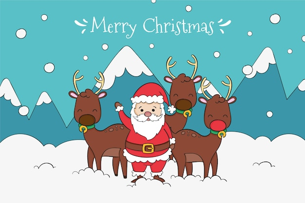 Drawn santa with his reindeer background