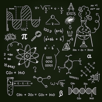 Drawn scientific formulas on chalkboard