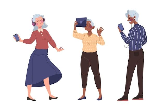 기술을 사용하여 그린 노인