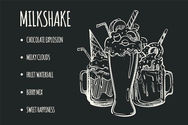 Drawn sketch menu of milk freakhakes