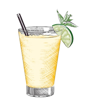 Drawn sketch of tequila shot alcoholic cocktail