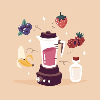Drawn smoothies in blender glass