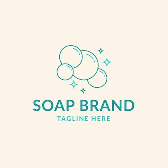 Drawn soap logo template with bubbles