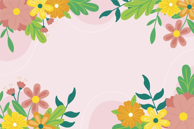 Drawn spring background with empty space
