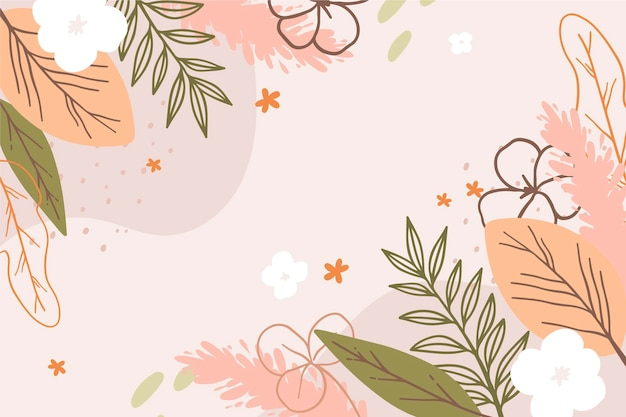 Drawn spring background with flowers