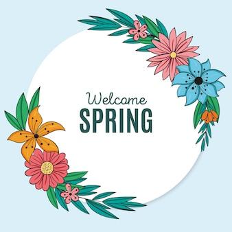 メッセージ付きの描かれた春の花のフレーム