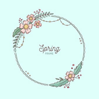 그린 된 봄 꽃 프레임