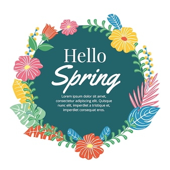 Drawn spring floral frame