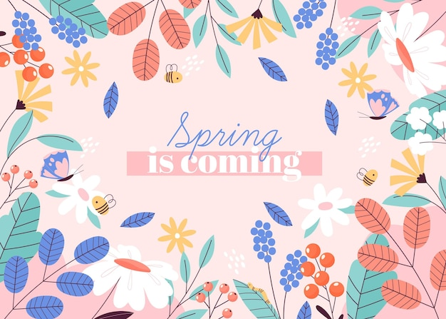 Drawn spring is coming background