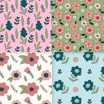 그린 된 봄 패턴 컬렉션