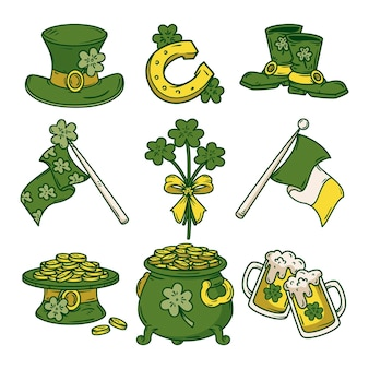Drawn st. patrick's day elements collection
