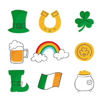 Drawn st. patrick's day elements pack