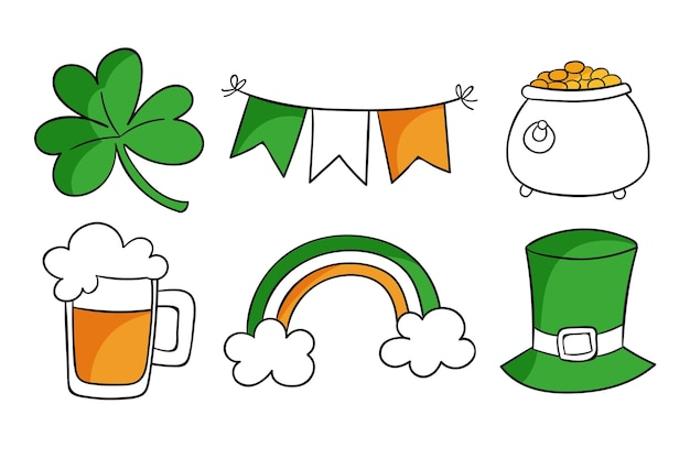 Drawn st. patrick's day elements