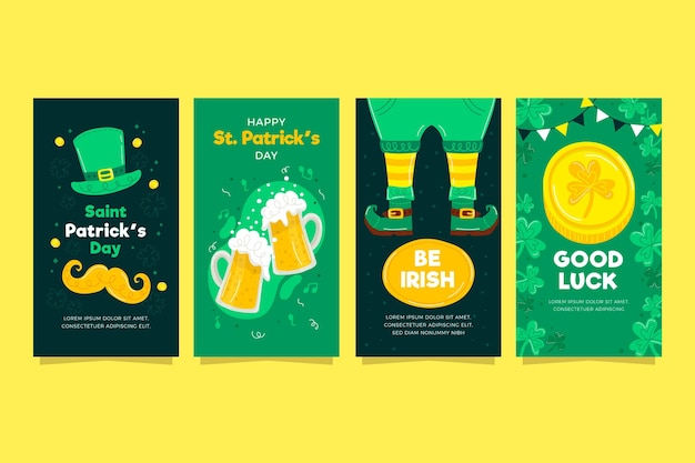 Drawn st. patrick's day instagram stories collection